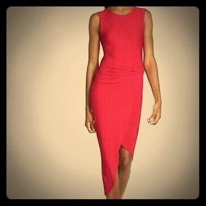 ASTR red bodycon dress Asymmetrical hem